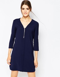 See U Soon Shift Dress With Zip Front Navy