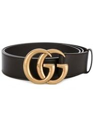 Gucci Double G Buckle Belt Men Calf Leather Brass 110 Black