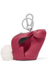Loewe Bunny Shearling Trimmed Textured Leather Bag Charm Pink