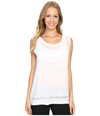 Zobha Sleeveless Muscle Tee W Sheer Panels Bright White Women's T Shirt
