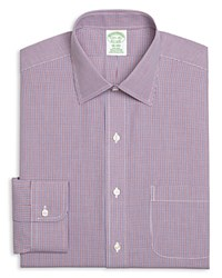 Brooks Brothers Micro Gingham Slim Fit Dress Shirt Red