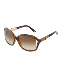 Gucci Large Sunglasses With Bamboo Arm Brown