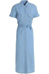 7 For All Mankind Pleated Stretch Cotton Chambray Midi Shirt Dress Light Blue