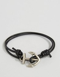 Asos Anchor Triple Wrap Bracelet In Black Black