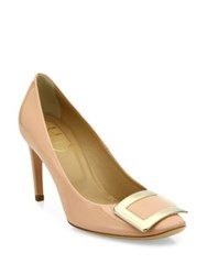 Roger Vivier Belle De Nuit Buckle Patent Leather Pumps Nude