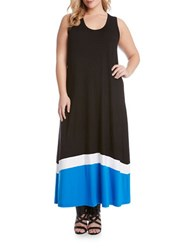 Karen Kane Plus Colorblock Jersey Maxi Tank Dress Black