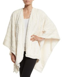 Natori Faux Fur Reversible Shawl White