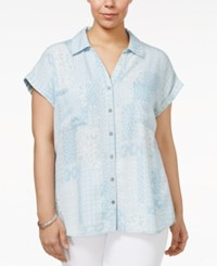 Style And Co Plus Size Short Sleeve Denim Shirt Only At Macy's Patched Perenia
