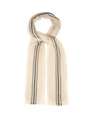 Isabel Marant Vala Striped Fine Knit Scarf White