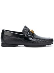 Versace Textured Medusa Loafers Black