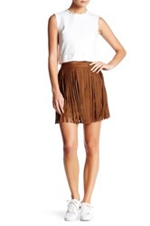 Bb Dakota Barton Faux Suede Fringe Mini Skirt Brown
