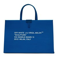 Off White Blue Medium Box Bag