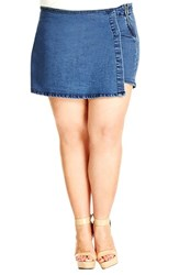 Plus Size Women's City Chic Short Wrap Front Denim Skort