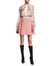 Giambattista Valli Striped Floral Long Sleeve Silk Top Pink Multi Pink Multi