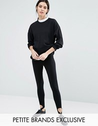 One Day Petite Legging With Stirrup Detail Black