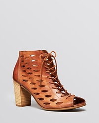 Paul Green Open Toe Ghillie Lace Up Booties Catalina Perf High Heel Cuoio Brown