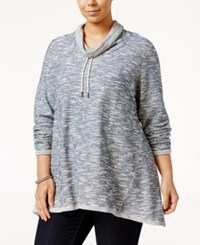 Styleandco. Style Co. Plus Size Funnel Neck Space Dyed Top Only At Macy's New Uniform Blue