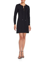 Amanda Uprichard Lace Up Solid A Line Dress Black