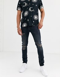 River Island Skinny Jeans With Rips Black
