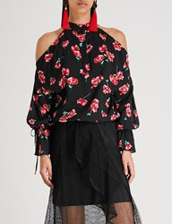 Moandco. Floral Print Woven Top Pink And Black