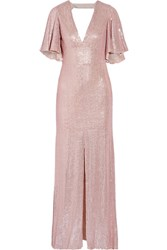 Temperley London Stardust Open Back Sequined Chiffon Gown Pastel Pink
