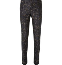 Dries Van Noten Slim Fit Linen And Cotton Blend Jacquard Suit Trousers Navy