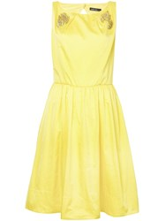 Marc Cain Crystal Embellished Flared Dress Yellow And Orange