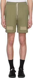 John Elliott Khaki Panelled Drawstring Shorts