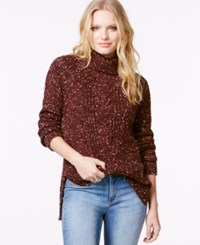 Sanctuary Long Sleeve Cable Knit Turtleneck Mulberry