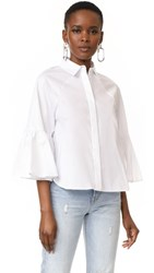 Kendall Kylie Bell Sleeve Top Bright White