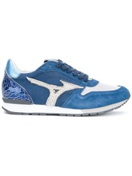 Mizuno Printed Panelled Sneakers Women Leather Rubber 37 Blue