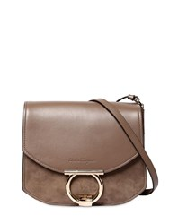 Salvatore Ferragamo Margot Leather And Suede Shoulder Bag Caraway Seed