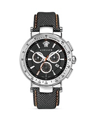 Versace Mystique Sport Chronograph Stainless Steel Round Watch With Black Guilloche Dial 43.5Mm