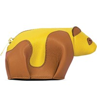 Loewe Panda Leather Coin Purse Tan Yellow