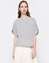 Black Crane Linen Square Top In Stripe Thin Stripe