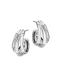 John Hardy Bamboo Silver Small J Hoop Earrings