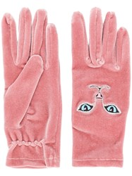 Vivetta Cat Embroidered Gloves Pink