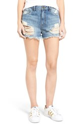 Sun And Shadow Women's Ripped High Rise Denim Shorts