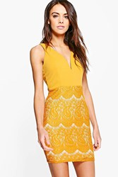 Boohoo Lace Contrast Plunge Bodycon Dress Chartreuse