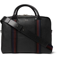 Paul Smith Stripe Trimmed Grained Leather Briefcase Black