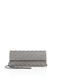 Whiting And Davis Crystal Chevron Convertible Clutch Pewter