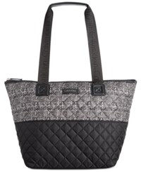 Calvin Klein Nylon Quilted Tote Black White Tweed Print