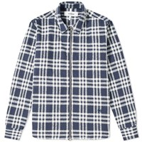 Soulland Checked Zip Overshirt Blue