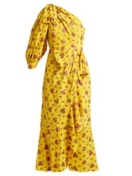 Gucci Floral Fil Coupe Silk Blend Dress Yellow