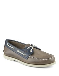 Sperry Authentic Original Leather 2 Eye Sarape Boat Shoes Grey Navy