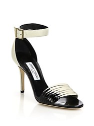 Jimmy Choo Livvi Two Tone Leather Sandals Off White Black