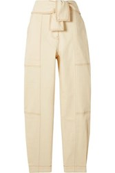 Ulla Johnson Storm Belted Paneled High Rise Tapered Jeans Ecru