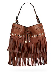 Sondra Roberts Studded Fringe Bucket Bag Brown