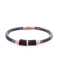 Steve Madden Stainless Steel And Leather Wrap Cord Bracelet Rose Gold