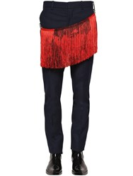 Calvin Klein 205W39nyc Poly And Viscose Twill Pants W Fringe Navy Red